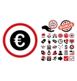 Euro Coin Flat Icon with Bonus vector image vector image