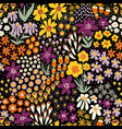 flower field autumn colors on black seamless vector image vector image