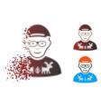 fragmented pixelated halftone nerd guy icon vector image vector image