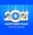 greeting card happy new year 2021 luxury alphabet vector image
