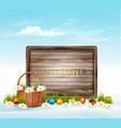 happy easter background eggs in a basket and vector image vector image