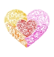 Happy Valentine Day heart decor red orange vector image