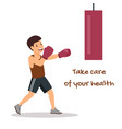 health care motivating poster with cartoon boxer vector image vector image