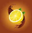 lemon with leaves and chocolate splash realistic vector image vector image