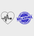 line heart pulse icon and distress melanoma vector image vector image