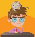 Man Think Cat Head Work vector image vector image