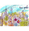 new york city landscape with watercolor splashes vector image vector image