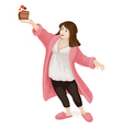 Obese girl with cake vector image