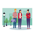 people and city vector image vector image