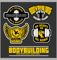 set of bodybuilding emblems in black colour vector image