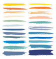 set of brush stroke colorful ink grunge brush vector image