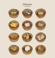 set of dim-sum hand draw sketch vector image vector image