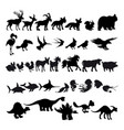 silhouettes cartoon animals vector image vector image
