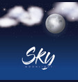 sky moonlight poster with clouds over moon in vector image vector image