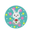 spring rabbit with flowers vector image vector image