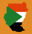sudan flag and map on the gray background vector image vector image