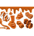 sweet caramel set realistic 3d vector image vector image