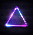 triangle background on brick texture neon sign vector image vector image