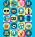 twenty summer icons flat style vector image vector image