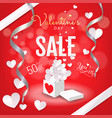valentines day sale background banner open gift vector image vector image