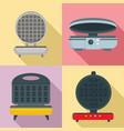 waffle-iron icon set flat style vector image vector image