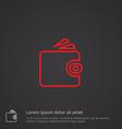 Wallet outline symbol red on dark background logo vector image vector image