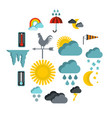 weather icons set flat style vector image