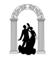 wedding arch with bride and groom vector image vector image