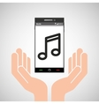 hand mobile phone music icon vector image