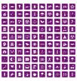 100 harmony icons set grunge purple vector image vector image