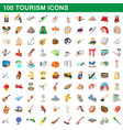 100 tourism set cartoon style vector image vector image
