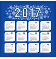 2017 blue calendar with stylized snowflakes vector image vector image