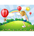 A girl playing in the hill with floating balloons vector image vector image