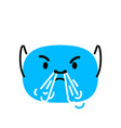 abstract blue angry face with steam from nose vector image