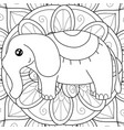 adult coloring bookpage a kawaii elephant on the vector image