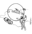 astronaut planet spacecraft cabriolet in space vector image