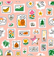 awesome cartoon mail stamps collection pattern vector image vector image