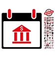 Bank Building Calendar Day Flat Icon With vector image vector image