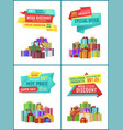 banners with gifts for shop clearance sale promo vector image vector image