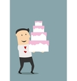 Businessman carrying a birthday cake vector image vector image