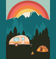 camping poster sunset landscape vector image vector image