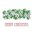 Christmas pattern with green and white snowflakes vector image vector image