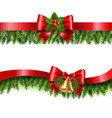 christmas red ribbon and fir tree white background vector image vector image