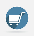 Circle blue icon with shadow cart online store vector image