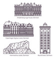 denmark or danish medieval buildings in thin line vector image