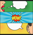 dialog of girl and guy with speech bubble - wow vector image