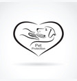 dog and hand in the heart on white background vector image vector image