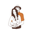 drawing cute couple in love portrait man vector image vector image