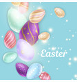 easter eggs and sparks near inscription vector image vector image