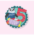 education children s card with funny panda and vector image vector image
